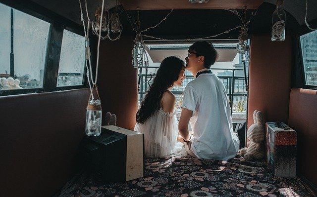 young couple enjoying their own-style wedding